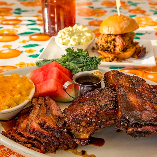 Lucilles Smokehouse Bbq Tempe Ribs Smoked Meat Coleslaw
