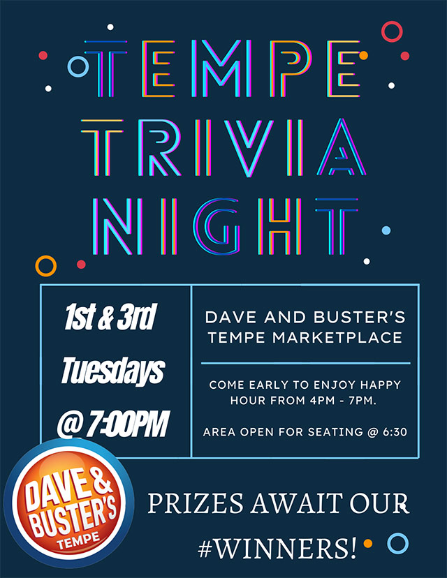 Specials Dave Busters Trivia Night