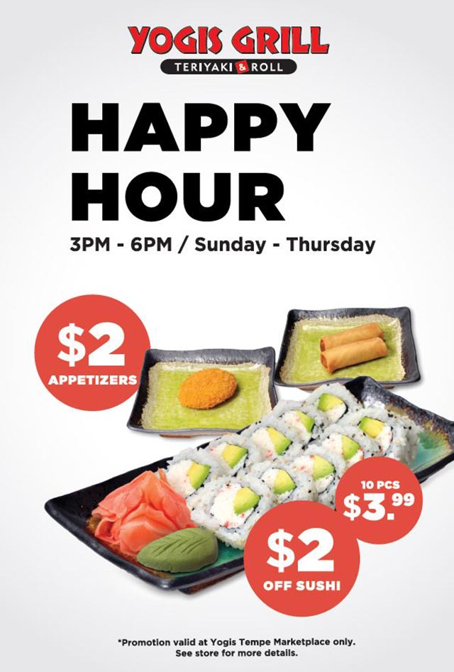 Specials Yogis Grill Happy Hour
