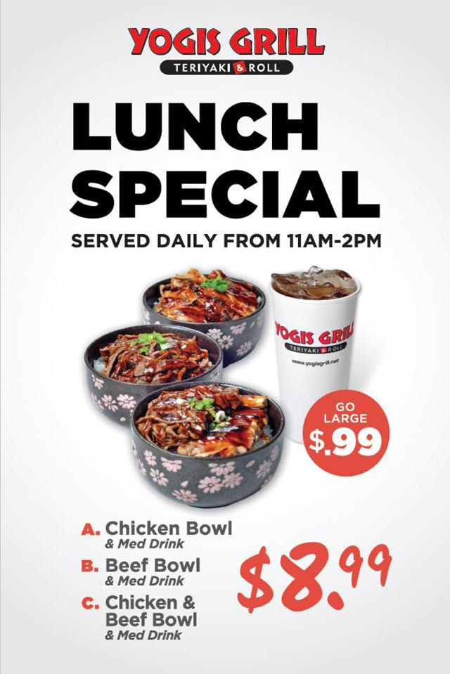 Specials Yogis Grill Lunch Specials