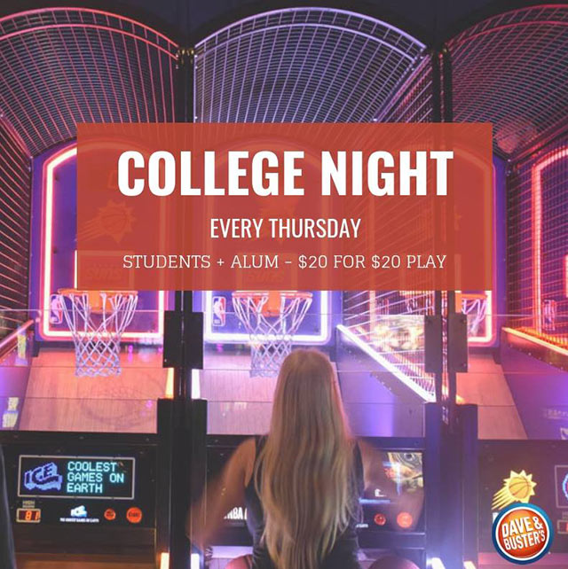 Specials Dave Busters 20for20 College